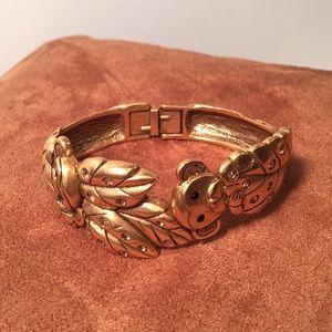 Chico's gold engraved monkey cuff bracelet